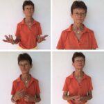 Das Foto zeigt vier Bilder einer ernst schauenden Frau, die verschiedene Gesten zeigt