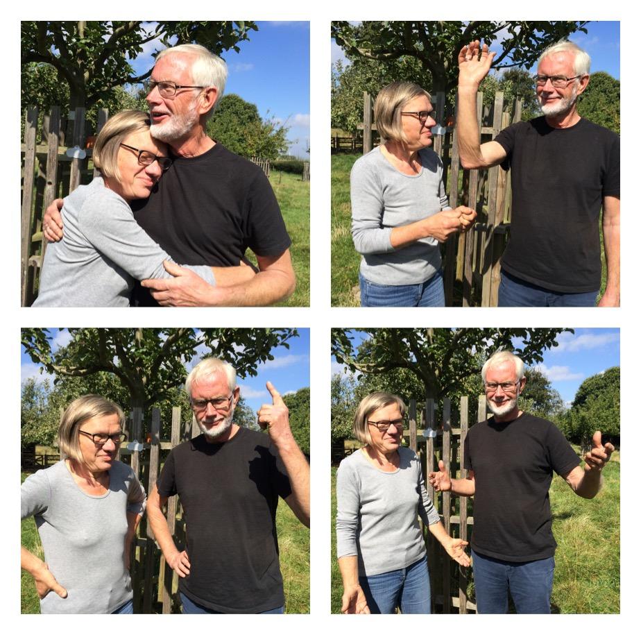 Das Bild zeigt vier Fotos von einer Frau und einem Mann die unterschiedliche Gesten machen