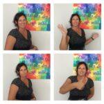Das Bild zeigt vier Fotos einer Frau, die verschiedene Gesten macht