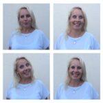 Das Bild zeigt vier Fotos einer Frau, die verschiedene Gesichtsausdrücke macht