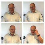 Das Bild zeigt vier Fotos eines Mannes, der in verschiedene Richtungen guckt